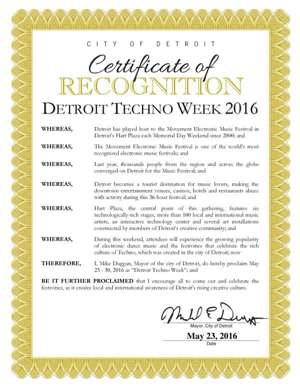 Certificat Detroit Techno Week 2016