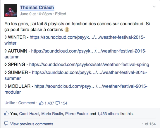 Capture d'écran du post Facebook des 5 playlists