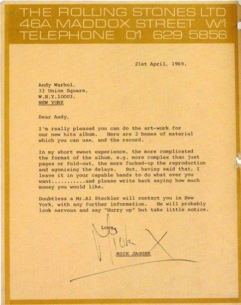 lettre andy warhol mick jagger