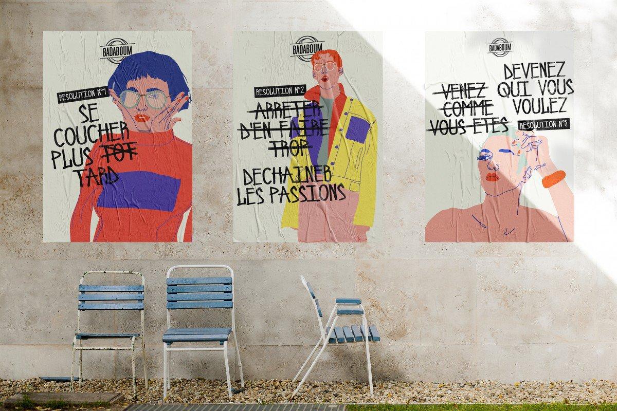 Quelques unes des affiches qui ont été placardées par le Badaboum